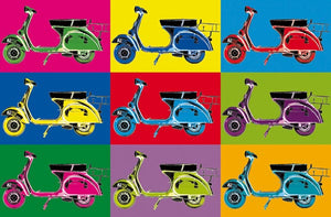 Vesparama Wall Mural-9 Vespa bikes all different colors on different colored backgrounds.