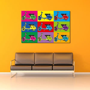 Vesparama Wall Mural-9 Vespa bikes all different colors on different colored backgrounds. hung over sofa