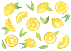 Main Squeeze Wall Art Kit-peel and stick lemons of various shapes with green leaves.