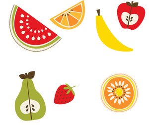 Tutti Frutti Wall Art Kit-peel and stick wallpaper- different fruit like banana's, apples, pears