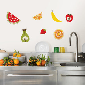 Tutti Frutti Wall Art Kit-peel and stick wallpaper- different fruit like banana's, apples, pears.  Put over kitchen sink and counter