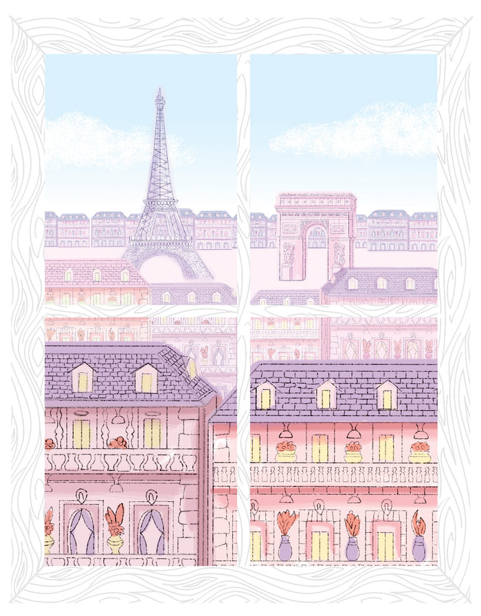Parisian Balcony Window Scene Wall Art Kit