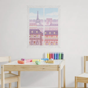 Parisian Balcony Window Scene Wall Art Kit-The Eiffel Tower and the Arc de Triomphe look awash in sunset colors through the faux window.  hung over child's table