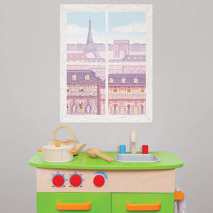 Parisian Balcony Window Scene Wall Art Kit-The Eiffel Tower and the Arc de Triomphe look awash in sunset colors through the faux window.  hung over child's play kitchen