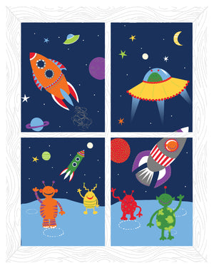 We Come in Peace Window Scene Wall Art Kit-various shaped rockets blasting off with friendly aliens waving.