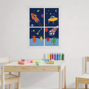 We Come in Peace Window Scene Wall Art Kit-various shaped rockets blasting off with friendly aliens waving.  hung over child's table
