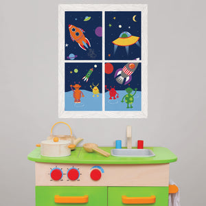 We Come in Peace Window Scene Wall Art Kit-various shaped rockets blasting off with friendly aliens waving.  hung over child's play kitchen