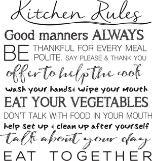 Kitchen Rules Wall Quote-peel and stick wallpaper-quotes are printed in black-things like Good manners always, Be thankful for every meal, eat your vegetables and more.