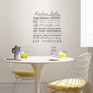 Kitchen Rules Wall Quote-peel and stick wallpaper-quotes are printed in black-things like Good manners always, Be thankful for every meal, eat your vegetables and more.  Hung above kitchen table.