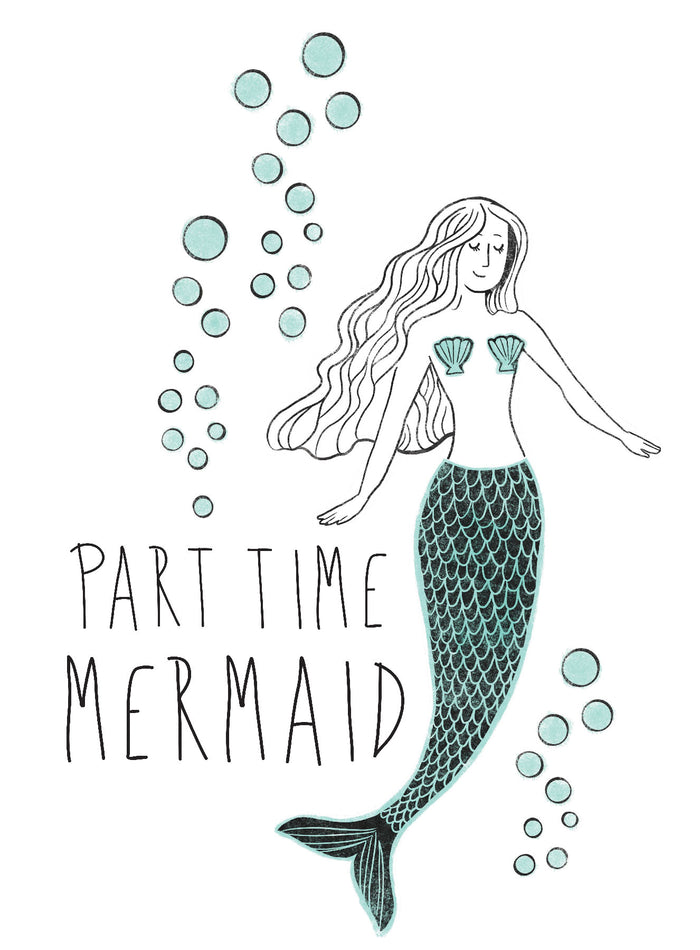 Part Time Mermaid Wall Quote