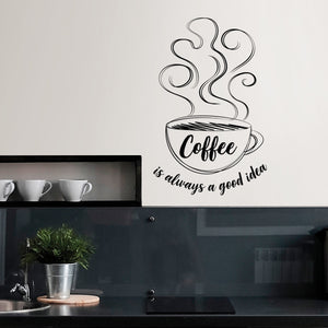 WallPops Always Coffee Wall Quote-SKU#DWPQ3076-close up of coffee cup and quote Coffee is always a good idea. done in black & white.  Hung on wall above counter