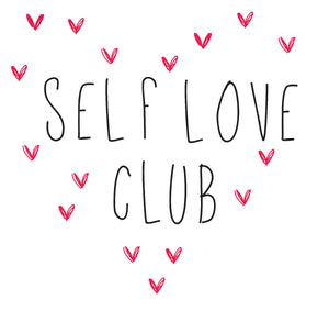 Self Love Club Wall Quote-quote-self love club printed in black surrounded by small pink hearts.
