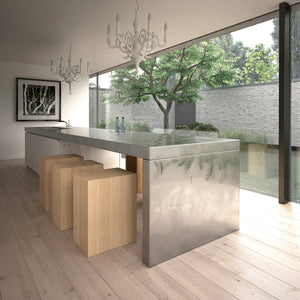 Maple Adhesive Film-A light unstained faux maple wood. Used around kitchen island.
