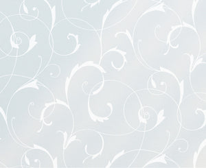 Scroll Flower Static Window Film-blue and white elegant floral scroll static cling.