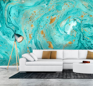 Marble Texture Wall Mural-Flecks of gold pop amidst turquoise and icy blue swirls. hung in living room