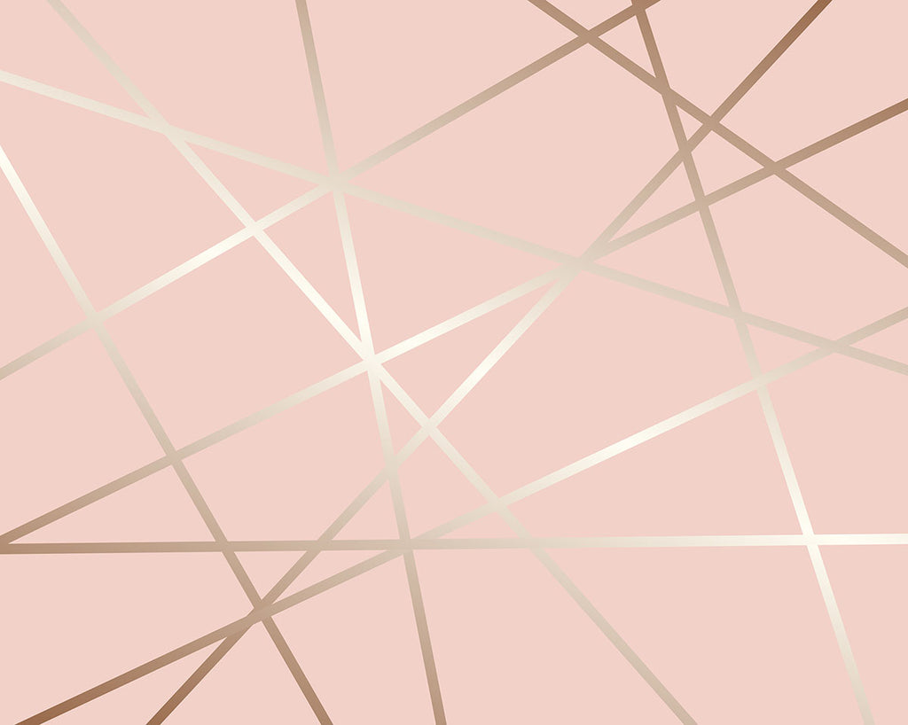 Rose Pinnacle Wall Mural-lines of rose gold shine bright against a soft pink background in geometric shapes.