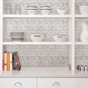 Subway Carrara Peel & Stick Backsplash Tiles-Subway tile and white marble combine for a fabulous design.  Used on the back of shelves
