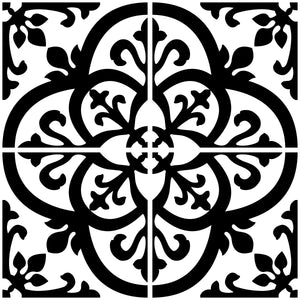 Close up of Avignon Peel & Stick Backsplash is a black and white gothic tile