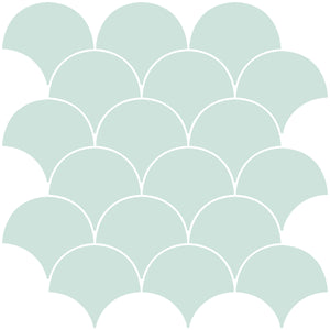 Shell Peel & Stick Backsplash Tiles-The shell design has an inviting seafoam finish
