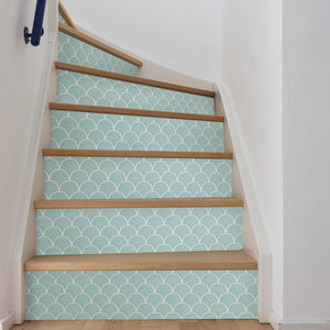 Shell Peel & Stick Backsplash Tiles-The shell design has an inviting seafoam finish.  used on the the back of inside winding staircase