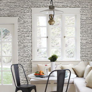 Kylver Peel & Stick Wallpaper- black ink painting and calligraphy. Done on dining room wall.