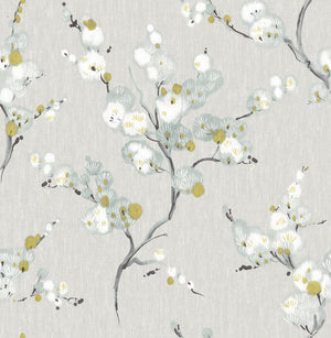 Mirei Peel & Stick Wallpaper-peel and stick wallpaper has blue, yellow, and white flowers sprawl over a grey linen print background.