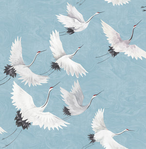 Halcyon Peel & Stick Wallpaper he hand-painted cranes look picturesque flying over a marbled blue background