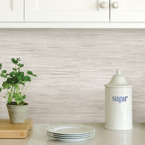 Cream Grassweave Peel & Stick Wallpaper-resembles cream grasscloth wallpaper.  Used as backsplash underneath kitchen counters.
