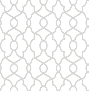 Silver Clearly Cool Peel & Stick Wallpaper-its stylish trellis design has silver and white colors that have a clean and classic feel.