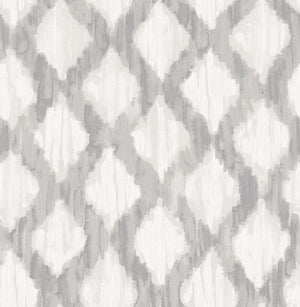 Grey Floating Trellis Peel & Stick Wallpaper-grey floating trellis design.