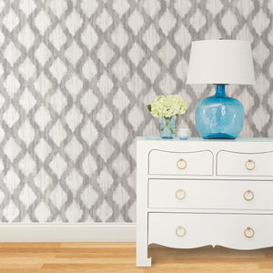 Grey Floating Trellis Peel & Stick Wallpaper-grey floating trellis design. Hung on bedroom wall.