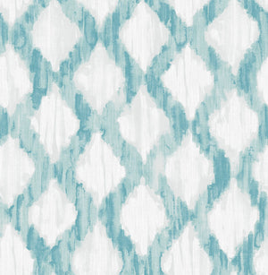 Teal Floating Trellis Peel & Stick Wallpaper-watercolor style, this trellis design has a teal and grey pattern.