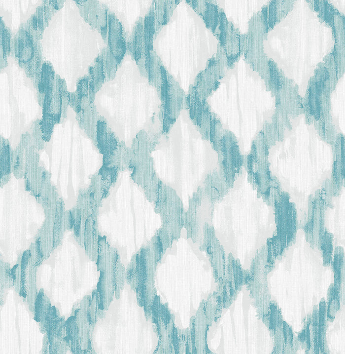 Teal Floating Trellis Peel & Stick Wallpaper