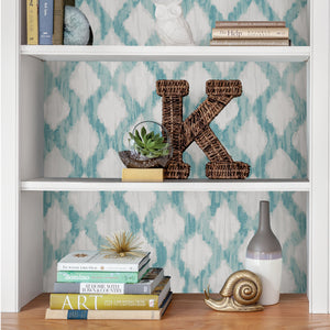 Teal Floating Trellis Peel & Stick Wallpaper-watercolor style, this trellis design has a teal and grey pattern.  Put on the back of bookcase.