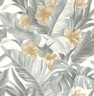 Neutral Paradise Peel & Stick Wallpaper-Palm fronds, banana leaves, and flowers are given a neutral spin in grey and tan. gives it a tropical flare.