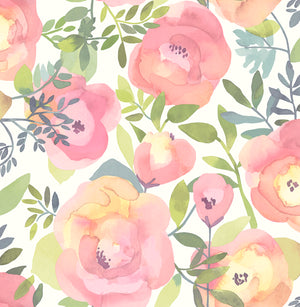 Peachy Keen Pink Peel & Stick Wallpaper-Peach and pink flowers with curling green leaves pop against a white background.