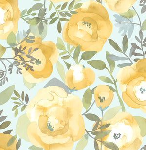 Peachy Keen Yellow Peel & Stick Wallpaper-n a watercolor style, mustard and yellow flowers flutter about curling leaves and an icy seafoam background.