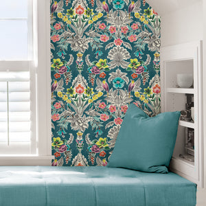 Summer Love Teal Peel & Stick Wallpaper-botanical damasks comprised of yellow birds, coral flowers, and green roses pop against a rich teal background. hung in bedroom