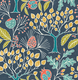 Groovy Garden Navy Peel & Stick Wallpaper features an array of vintage-style flora, including pine, pomegranate and oak trees, over a navy background.