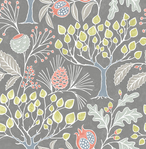 Groovy Garden Grey Peel & Stick Wallpaper Hand painted details give the pomegranate, pine and oak trees a vintage flair with soft taupe and pastel colors.