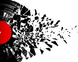 Smashed Vinyl Wall Mural-Black record pieces drift away against a white background.