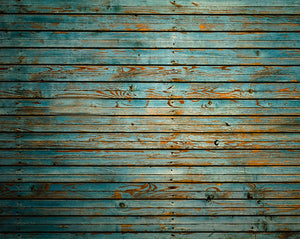 Washed Timber Wall Mural-bold teal wood design has a distressed look with thick planks.