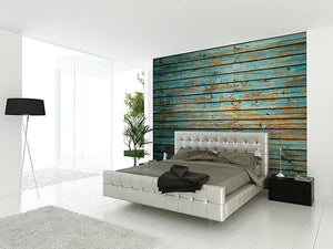 Washed Timber Wall Mural-bold teal wood design has a distressed look with thick planks.  hung in bedroom