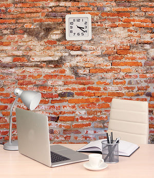 Red Brick Wall Mural-The brick orange print will create a textured look.  hung in office
