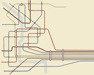 Underground Wall Mural-minimal train map-Classic shades of blue, green, cranberry, and orange create the color tones.