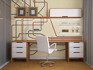 Underground Wall Mural-minimal train map-Classic shades of blue, green, cranberry, and orange create the color tones. hung in office