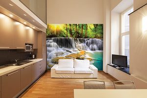 Mystical Waters Wall Mural-A long exposure photo captures the beauty of a cascading river.  hung in bedroom