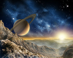 Galaxy Wall Mural-a galactic landscape looking across the horizon at Saturn.