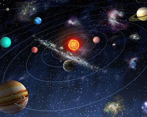 Solar System Wall Mural-colorful picture of the solar system.