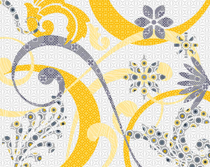 Mingle Wall Mural-Grey trails curl about vivid yellow swirls, creating a playful and abstract design.